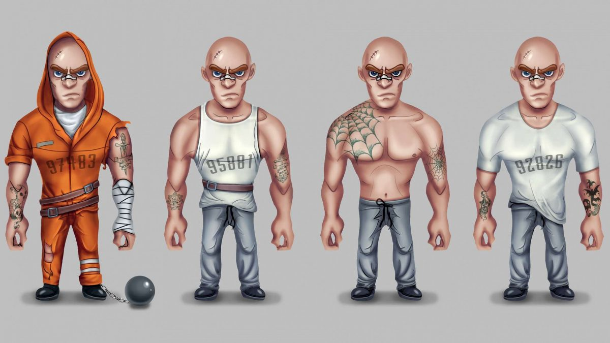 Characters for a mobile Escape-like game in a prison setting